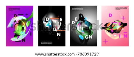 Colorful abstract liquid and fluid poster and cover design. Minimal geometric pattern gradients backgrounds. Eps10 vector. #786091729