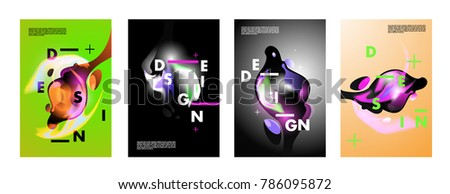 Colorful abstract liquid and fluid poster and cover design. Minimal geometric pattern gradients backgrounds. Eps10 vector. #786095872