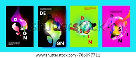Colorful abstract liquid and fluid poster and cover design. Minimal geometric pattern gradients backgrounds. Eps10 vector. #786097711