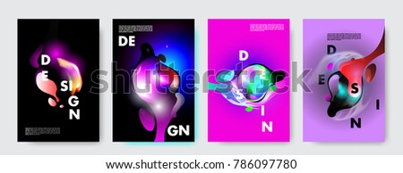 Colorful abstract liquid and fluid poster and cover design. Minimal geometric pattern gradients backgrounds. Eps10 vector. #786097780