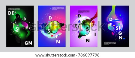 Colorful abstract liquid and fluid poster and cover design. Minimal geometric pattern gradients backgrounds. Eps10 vector. #786097798