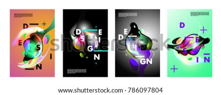 Colorful abstract liquid and fluid poster and cover design. Minimal geometric pattern gradients backgrounds. Eps10 vector. #786097804