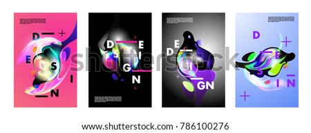 Colorful abstract liquid and fluid poster and cover design. Minimal geometric pattern gradients backgrounds. Eps10 vector. #786100276