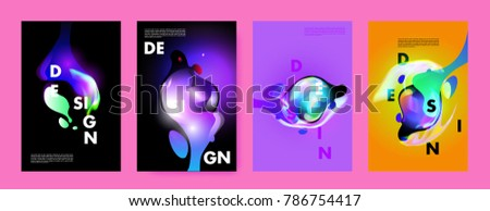 Colorful abstract liquid and fluid poster and cover design. Minimal geometric pattern gradients backgrounds. Eps10 vector. #786754417