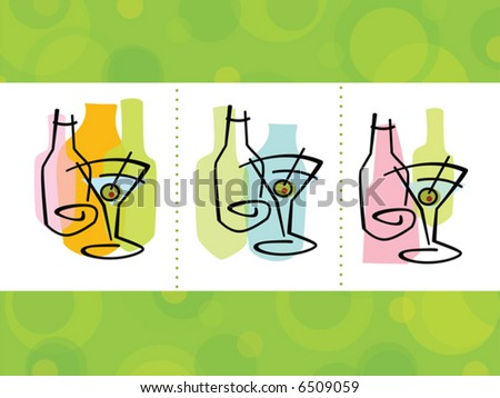 Colorful abstract martini cocktail Icons; layered file with complete background
