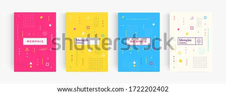 Colorful abstract minimalistic style poster, memphis geometric background, cover template, creative pattern Vectors.