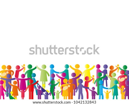Colorful abstract pictograms showing figures happy and loving family - parents, kids, cooples.