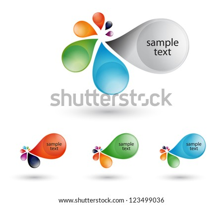 colorful abstract realistic drops  Vector .