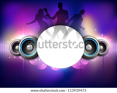 Colorful abstract speakers background with dancing peoples silhouette. EPS 10. - stock vector