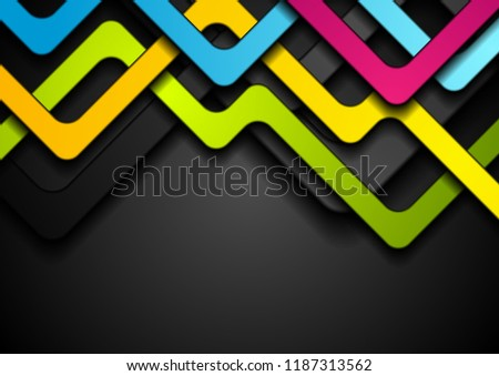 Colorful abstract stripes on black background. Vector corporate design