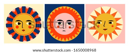 Colorful abstract Suns with faces. Pre-made cards. Various emotions. Trendy illustrations. Ethnic style. Hand drawn Vector set. All elements are isolated. Perfect for textile prints
