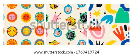 Colorful abstract Suns with faces, various shapes, bizarre objects. Set of three Hand drawn Vector Seamless Patterns. Background, Wallpaper. Perfect for textile prints. Square repeating design