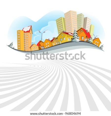 Colorful abstract vector city. Winter - stock vector