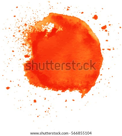 Colorful abstract watercolor circle with splashes and spatters. Modern creative watercolor background for trendy design.