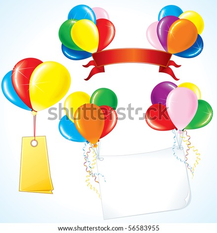 Colorful advertising balloons with various banners for your text.