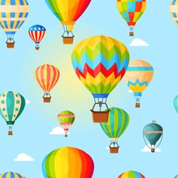 Colorful airballoon, pattern, air transport for travel, leisure and entertainment, design, flat style vector illustration. Bright seamless pattern textile industry, balloons flying across sky outdoor.
