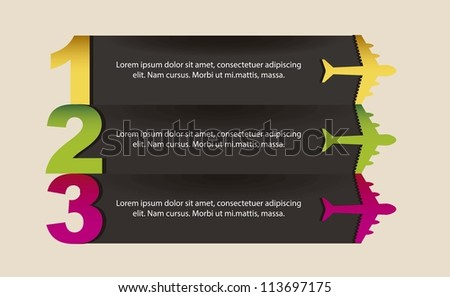 colorful airplanes with steps over beige background. vector illustration