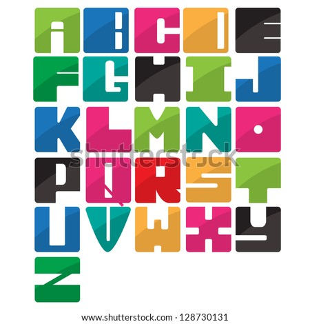 Colorful alphabet application style set
