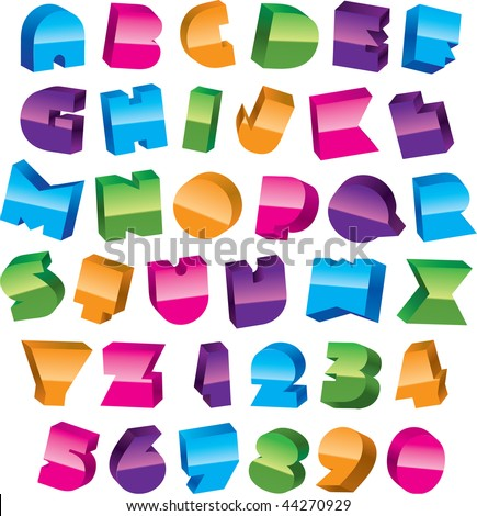 colorful alphabet design. trendy font.
