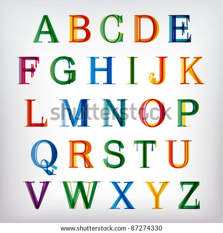 Colorful alphabet set. Vector.