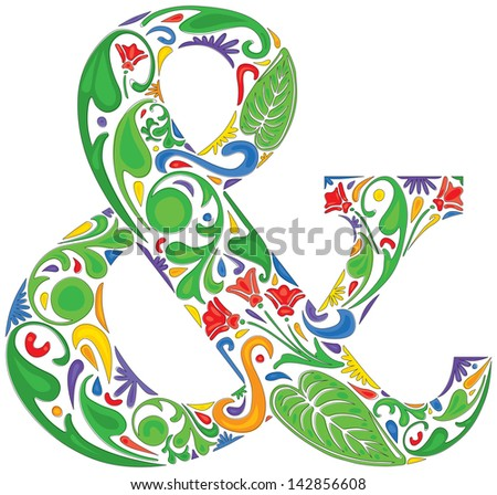 Colorful ampersand made of floral elements