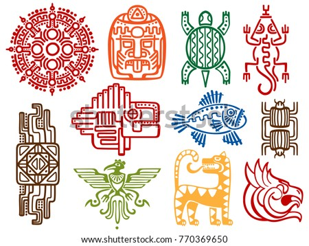Colorful ancient mexican vector mythology symbols isolated on white background - american aztec, mayan culture native totem. Vector illustration