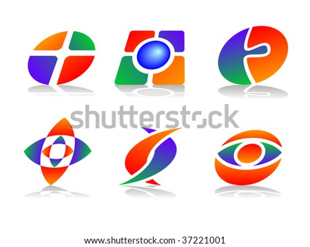 Colorful and Abstract Vector Icons - Design Element Set