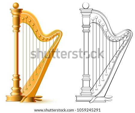 Colorful and black and white pattern for coloring. Illustration of harp. Worksheet for children and adults. Vector image. Stock photo ©