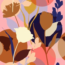 Colorful and bright summer Silhouette Abstract seamless pattern with leaves and flowers Background with florals vector on modern style.