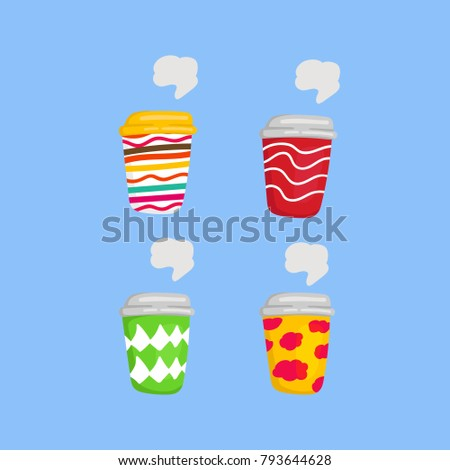 Colorful and cheerful funny coffee to go cup drink vector illustration set