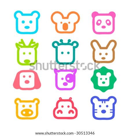 Colorful and cute animal faces. Vector illustration.