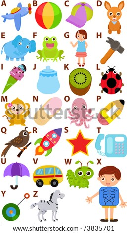 Colorful and Cute back to school vector Icons collection as design elements, a set of cartoon representing  Alphabet A to Z simple dictionary for Kids, isolated on white