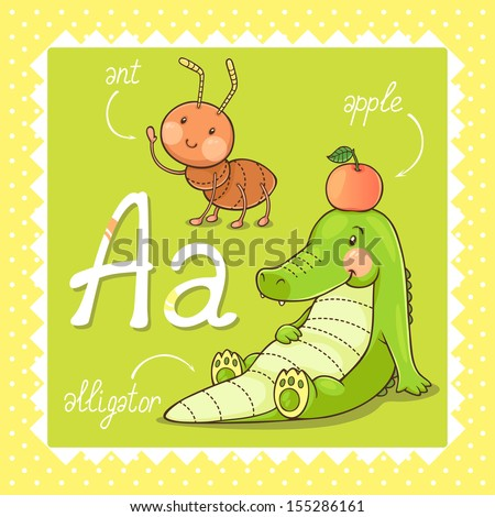 Colorful and cute kids alphabet letter A