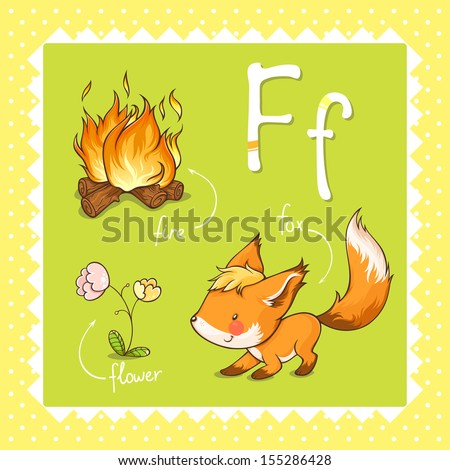 Colorful and cute kids alphabet letter F