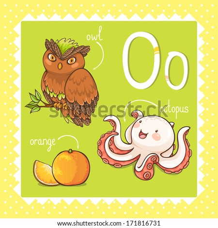 Colorful and cute kids alphabet letter O