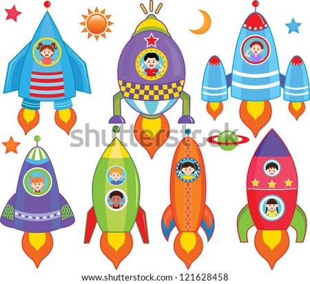 Colorful and Cute vector cartoon Icons collection, a set of Kids inside Spaceship, Spacecraft, Rocket  isolated on white background