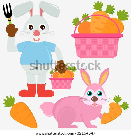 Colorful and Cute vector cartoon Icons collection as design elements, a set of healthy Rabbit Bunny with a basket of Carrots isolated on white