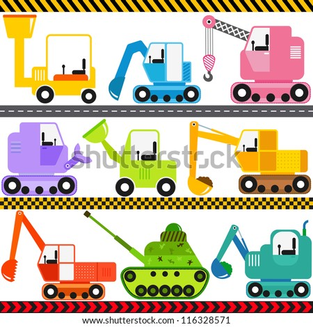 Colorful and Cute vector cartoon Icons collection as design elements, a set Transportation theme - Engineering Vehicle, caterpillar truck, Tractor, tank isolated on white