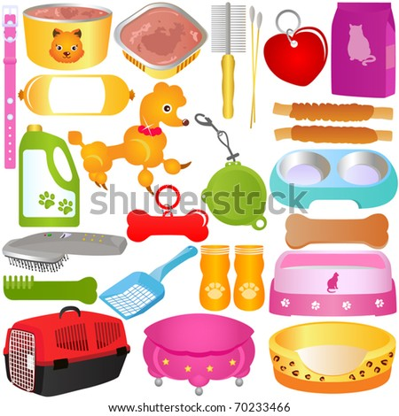 Colorful and Cute vector Icons collection as design elements, a set of Dog tool, puppy, Cats, Kitten food and Accessories isolated on white