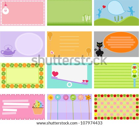 Colorful and Cute vector Icons collection as design elements, A set of Label, Card, Name card, Tag in pastel colors with sweet cartoon, isolated on white background