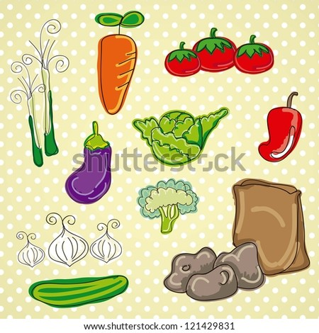 Colorful and Cute vector Icons vegetable, food isolated