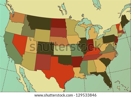 Colorful and Detailed USA Map. Cartography collection. Vector illustration. Easy to edit.
