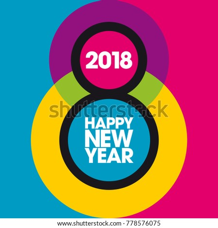 Colorful and graphic greeting card for 2018. To wish a Happy New Year in a joyful way with a graphic search around the 8.