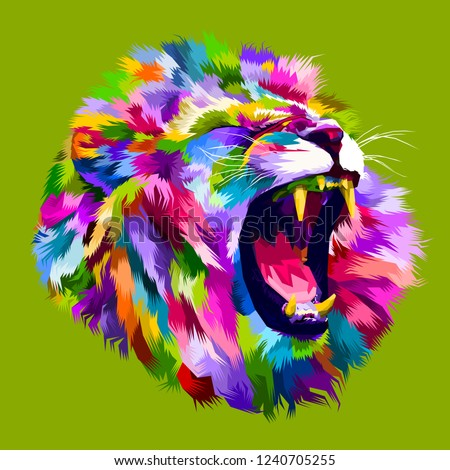 Colorful angry lion head