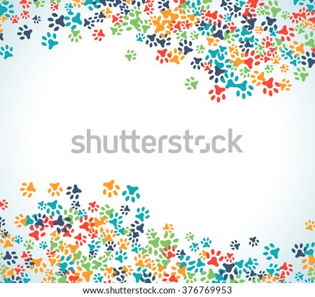 colorful animal footprint