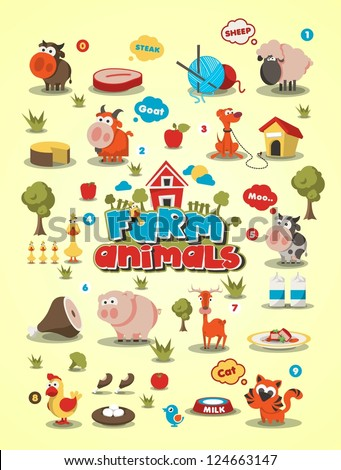 colorful animal set vector background animal info graphic