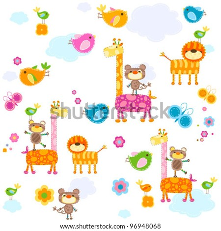 colorful animals background for babies