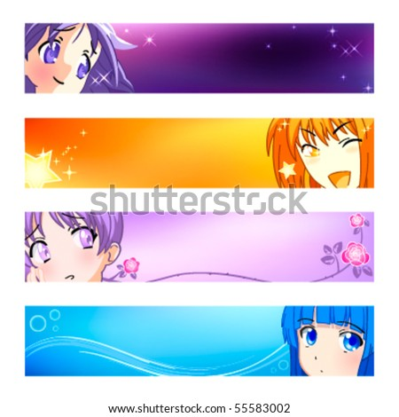 colorful anime banner or sider