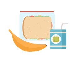 Colorful appetizing snack food in lunch box isolated on white background. Cartoon banana, juice with straw and tasty sandwich vector flat illustration. Colored healthy meals storage