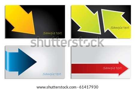 Colorful arrow business card set